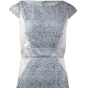 Jessica Simpson Lace Overlay Satin Sheath Dress